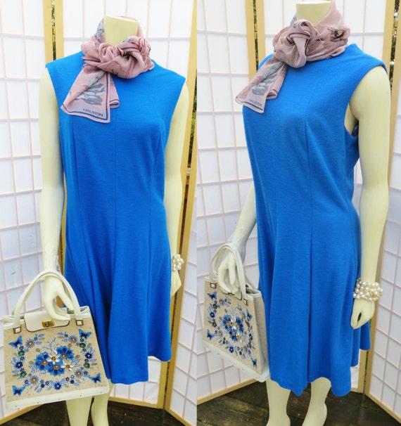 Vintage 1960s blue mad men dress/ blue princess se