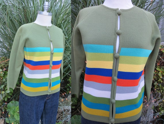 1960s green cardigan sweater with stripes/ winter