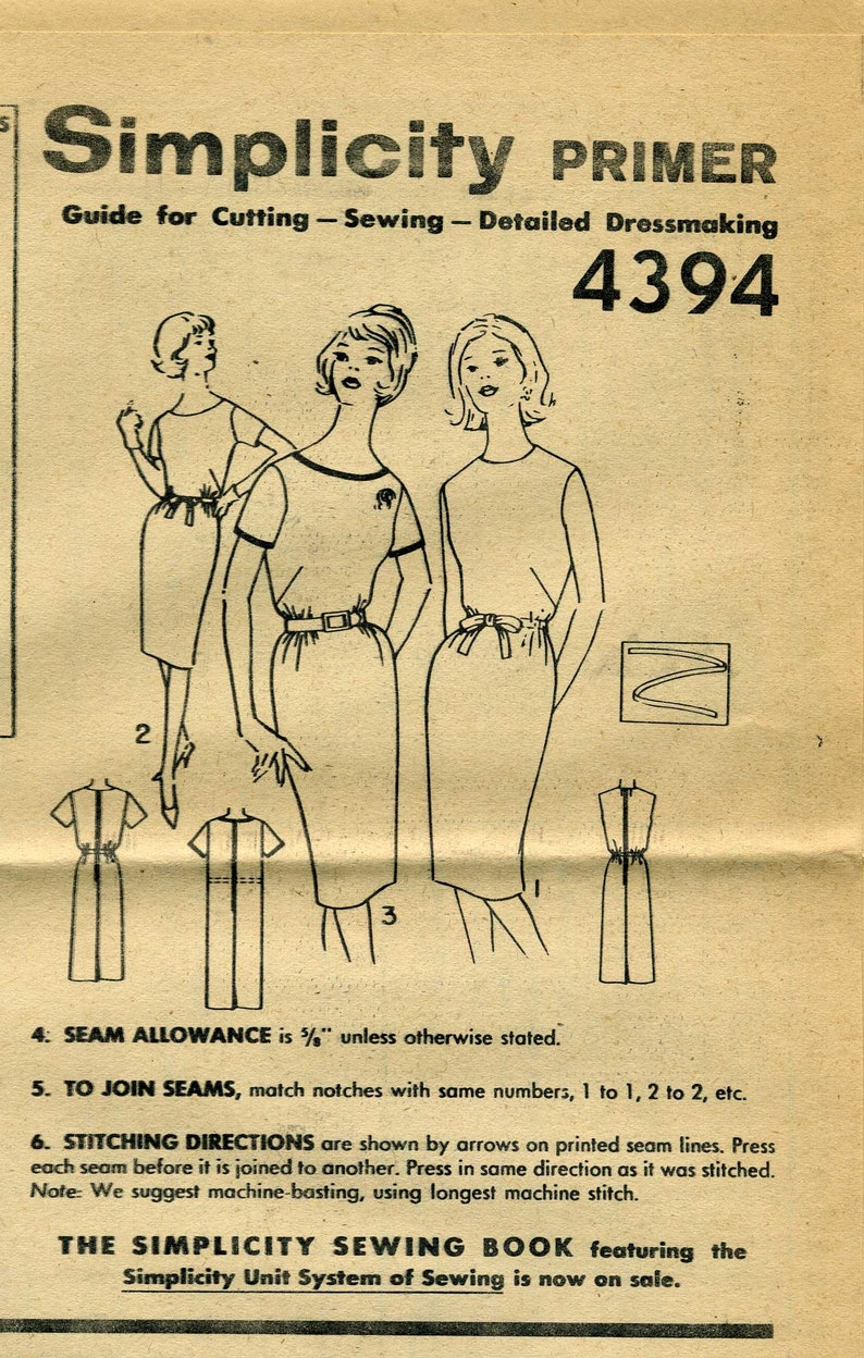 simple to make dress Simplicity 4394 sewing pattern vintage 1960/'s short sleeve sheath dress pattern Bust 36