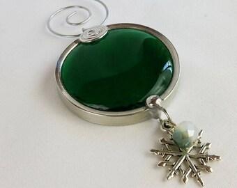 Stained Glass Christmas Ornament, Emerald Green Glass Suncatcher, Holiday Ornament Decor, Glass Ornament, Teacher, Stocking Stuffer A032