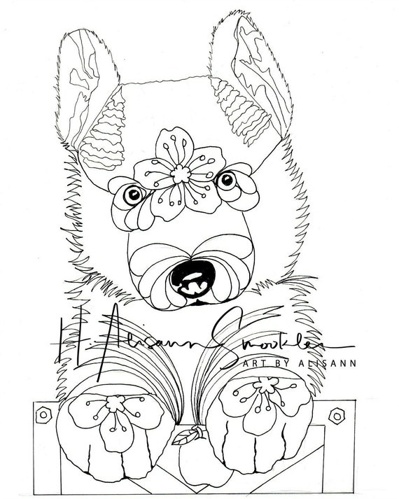 Siberian Huskie Puppy with Doodles - Coloring Dog Page - Instant Download