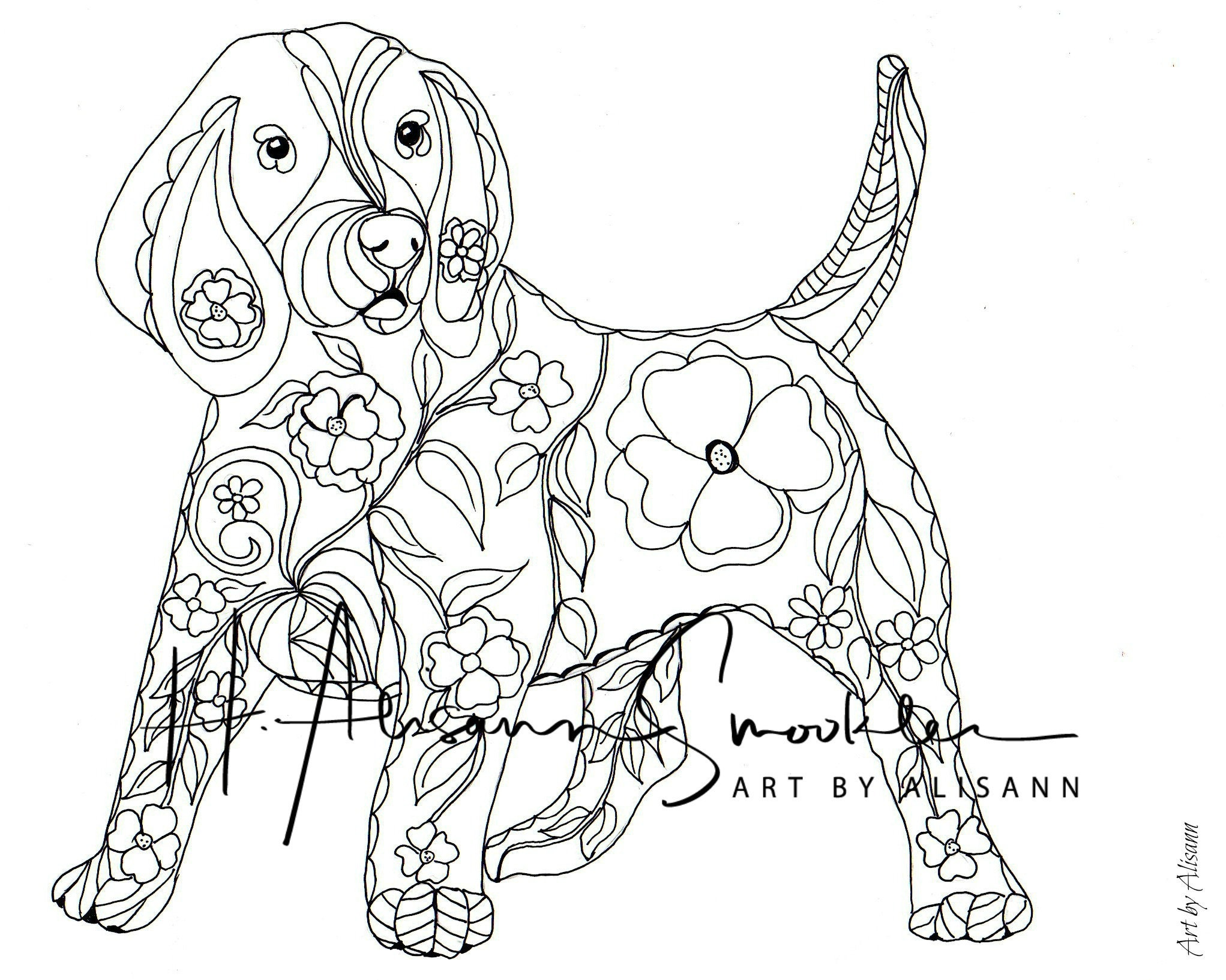 Beagle Coloring Page Digital Download Love Dogs | Etsy