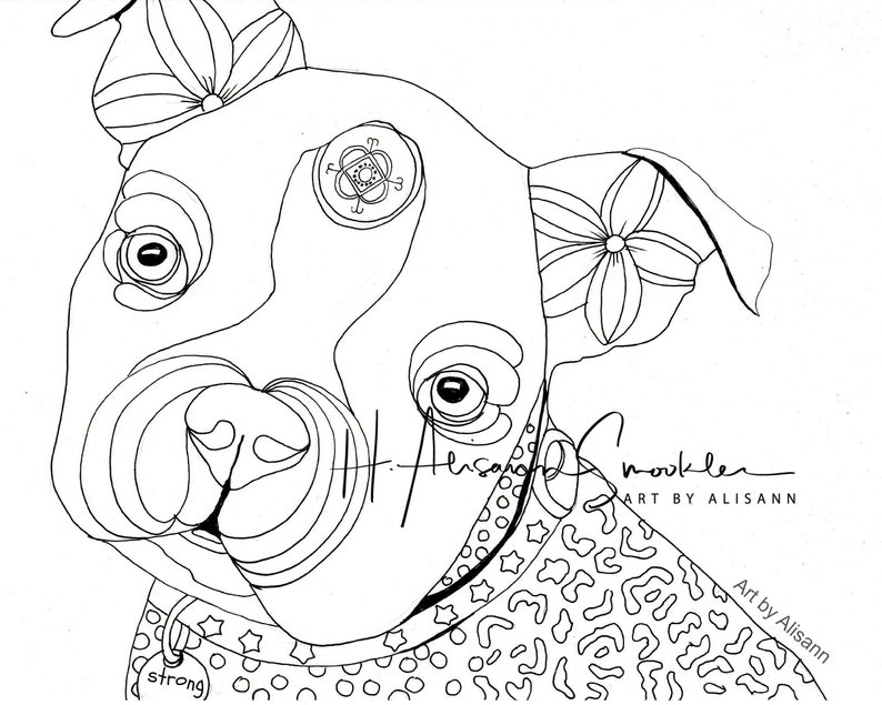 Boston Terrier - Boston Bull Terrier - Dog Coloring Page - Instant Download