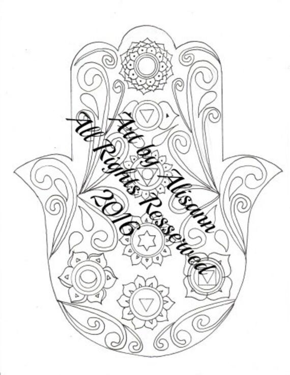 Página para colorear de chakras Hamsa página para colorear   Etsy