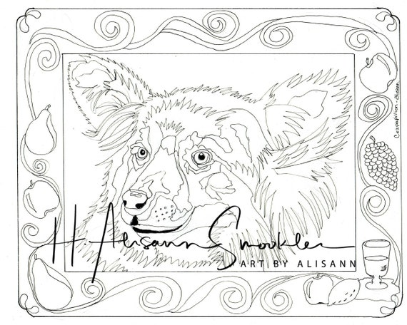 Pappilion - Love Dogs - Digital Download - Coloring Books for Adults -  Coloring Page