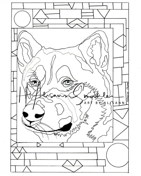 Malamute - Love Dogs - Digital Download - Coloring Books for Adults -  Coloring Page