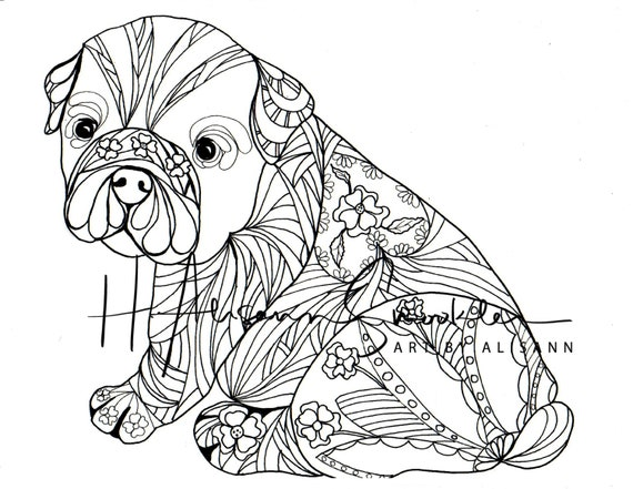 French Bulldog Frenchie Digital Download Love Dogs Coloring Books For Adults Coloring Page