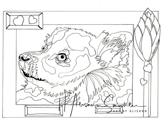 German Spitz - Love Dogs - Digital Download - Coloring Books for Adults -  Coloring Page