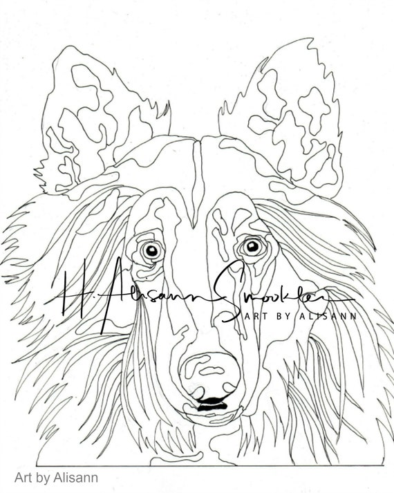 Collie Dog Coloring Page Love Dogs Vol 1 Digital Download