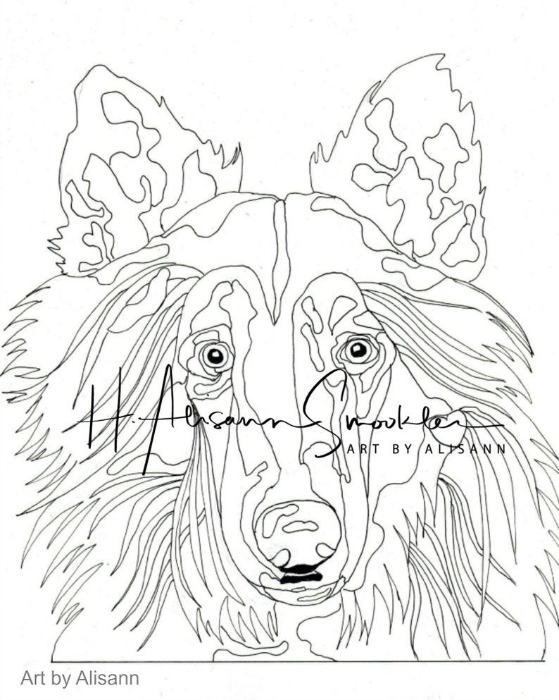 Kleine Kleurplaten Liefde.Collie Hond Kleurplaten Pagina Liefde Honden Vol 1 Etsy