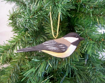 Chickadee Christmas ornament,hand carved and painted song bird  by Randy & Elaine Fisher ,FISHER WILDLIFE