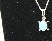 Turquoise and Sterling Silver Turtle Necklace