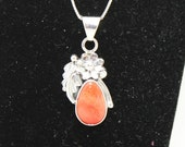 Spiny Oyster and Sterling Silver Pendant Necklace