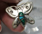 Sterling Silver and Turquoise & Malachite Inlay Butterfly Pin