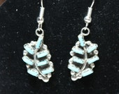 Turquoise and Sterling Silver Needlepoint Leaf Earrings
