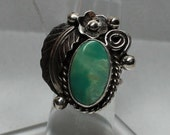 Navajo Candelaria Turquoise and Sterling Silver Ring Size 5.5