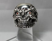 Navajo Cast Skull Ring Sterling Silver w/Mop & Coral Size 12.5