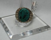 Navajo Cripple Creek Turquoise and Sterling Silver Ring Size 10