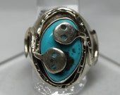 Zuni Snake Sterling Silver and Sleeping BeautyTurquoise Ring size 12