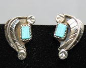 Zuni Sterling Silver and Turquoise Leaf Post Earrings