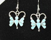 Zuni Sterling Silver and Turquoise Butterfly French Hook  Earrings