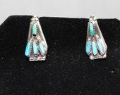 Zuni Bear Claw Style Needlepoint Post Earrings