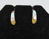 Sterling Silver and Multi-Stone Half Hoop Earrings