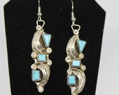 Sterling Silver and Turquoise Leaf Earrings