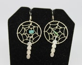 Silver and Turquoise Dreamcatcher Earrings