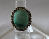 Broken Arrow Turquoise and Sterling Silver Ring Size 5.5