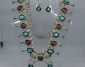 Turquoise and Coral Sterling Silver Squash Blossom Necklace