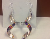 Navajo Sterling Silver Multi Color Beaded Dangle Earrings