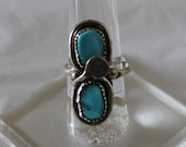 Turquoise and Sterling Silver Snake Motif Ring