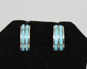 Turquoise and Sterling Silver Half Hoop Earrings