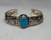 Navajo Kingman Turquoise and Sterling Silver Cuff Bracelet
