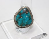 Navajo Kingman Turquoise and Sterling Silver Ring Size 8