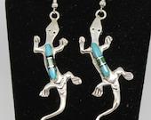 Sterling Silver and Multi-Stone Lizard Earrings