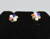 Multi-Stone and Sterling Silver Flower Post Earrings