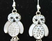 Sterling Silver, Mother of Pearl and Onyx Owl Earrings