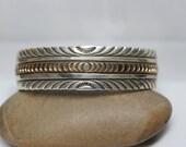Navajo Sterling Silver and 12K Gold Fill Stamped Bracelet
