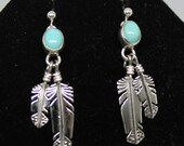Sleeping Beauty Turquoise and Sterling Silver Feather Earrings