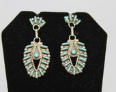 Sterling Silver and Turquoise Needlepoint Earrings