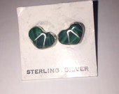 Green Turquoise Inlay Heart Shaped Post Earrings