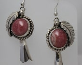 Rhodochrosite and Sterling Silver Squash Blossom Earrings