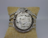 White Buffalo and Sterling Silver Cuff Bracelet