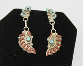 Sterling Silver and Turquoise and Coral Needlepoint Earrings