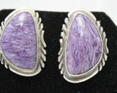 Charoite and Sterling Silver Earrings
