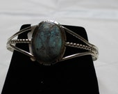 Kingman Turquoise and Sterling Silver Cuff Bracelet