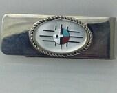 Native American Zuni Multi Colored Inlay Money clip