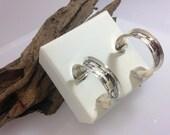 Navajo Sterling Silver hand stamped Hoop earrings